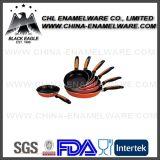 Factory Household Carbon Steel Enamel Grill Pan with Bakelite Handle