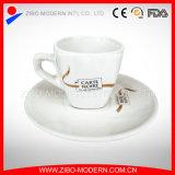 White Custom Logo Porcelain Ceramic Tea Coffee Cup and Saucer