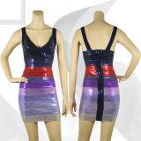 Sequined Deep V Necked Slip Purple Gradient Skirt