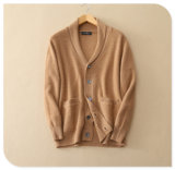 Men′s Pure Cashmere Knitting Cardigan for Winter Thick Sweater Coat with Insert Pocket V Neck Single Breasted