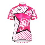 Customized Stripe & Star Cerise Short Sleeve Women′s Cycling Jerseys Sport Outdoor Breathable Invisible Full-Zip