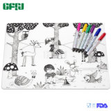 Customized Novelty Toy FDA Silicone Coloring Placemat with Markers