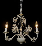 3 Light UL Approval Decorative Floral Ivroy White Iron Chandelier