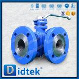 Didtek Petrochemical Carbon Steel Flange Ends 3 Way Ball Valve