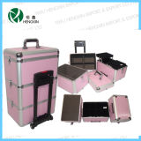 2017 New Professional Aluminum Rolling Trolley Cosmetic Makeup Case