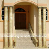 Entrance Hall Solid Beige Round Gloss-Finished Columns