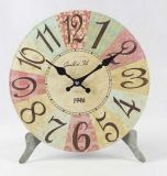 Round Shape Antique Clock Wooden Clock Desk Clock