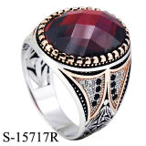 New Designs Saudi Arabia Style 925 Silver Man Ring with Big Stone.