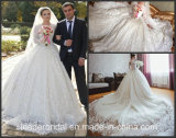 Full Lace Bridal Ball Gowns Luxury Long Sleeves Muslim Wedding Dress 2017 G1877