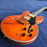 Flamed Maple Top Semi Hollow Body Guitar in Orange (TJ-268)