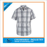 100% Cotton Classic Checked Men Shirt with Short Sleeve