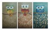 Handmade Canvas Three Owl Oil Painting (LH-M170507)