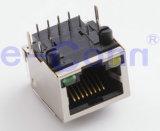 Single-Port Magnetic Modular Jacks, Rj 45, Right Angle with LED.