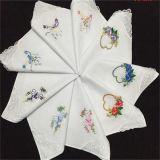 White Customized Cotton Embroideried Handkerchief