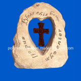 Polyresin Garden Stone with Cross and Bless