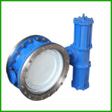 Pneumatic Actuated Metal Seat Double Flange Butterfly Valve