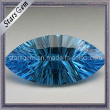 Dark Aqua Blue Millennium Cut Marquise Shape CZ Gemstone