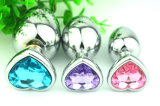 Pretty Heart Shape Metal Crystal Jewelry Anal Plug Medium Size