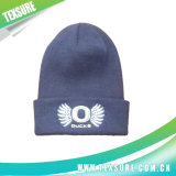 Solid Color Cuffed Knitted Sport Hats with Embroidery (046)