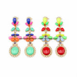 Two Color New Bohemian Flower Crystal Studded Earring Water Drop Shaped Pendant for Girls