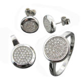 Jewellery Set, 925 Sterling Silver Micropave Jewelry Ring Earrings Pendant Jewelry Set