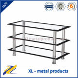 Cheap Glass LCD TV Stand with Chromed Legs TV-034