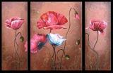 Wholesale Handmade Wooden Framed Modern Flower Oil Painting on Canvas (FL3-002)