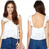 Hot Sale Backless Three Fold Falbala Loose Ladies and Women Chiffon Blouse