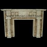 Fireplace Surround Made of Dark Emperador Marble