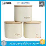 Concise and Easy Ceramic Jar with Wooden Lid