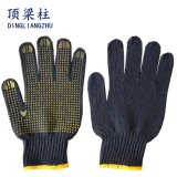 Safety Working Knitted Cotton Gloves with One Side PVC Dots