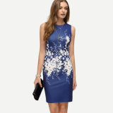 High Quality Flower Printing Sleeveless Dress for Wholesale