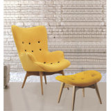 Eorupe Style High Back Fabric Single Chair with Ottoman