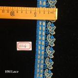 4.5cm Vintage Supply of French Chantilly Lace with Crochet Green Gold Embroidery Hme806