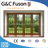 Yellow Sandal Wood Grain Friendly Environment Aluminium Window