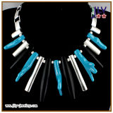 Wholesale Fashion Jewelry Handmade Turquoise Resin Stones Silver Plating Necklace