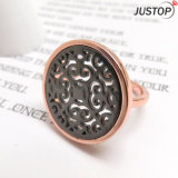 Shell Mop Black Hollow out Ring in Copper with Rose Gold Plated Plating for Women