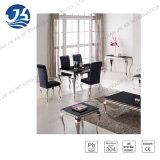 Modern Louise Style Black Marble Dining Table with Stainless Steel Frame