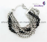 Fashion Black Beads with Brass Chain Plated Bracelet (XBL12007)