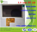"""5.0"""" 800X480 RGB 40pin Option Touch Screen, TFT LCD Panel"""