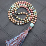 Mixed Natural Stone Long Tassel Necklace