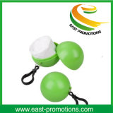 100% Degradable Plastic Poncho Raincoat Ball with Keychain