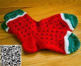 Custom Hand Knit Watermelon Womens Slipper Wool Floor Socks Anti-Slip