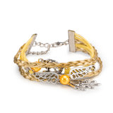 Handmade Braided Silver Plated Alloy Leather Bracelets with Lobster Clasp