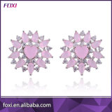 Pink Cubic Zirconia Silver Plated Women Earring Jewelry