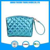 Fashion Soft Blue PU Cosmetic Bag with Quilting Seam