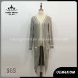 Ladies Side Slit Long Sleeve Knitted Wool Coat with Pockets