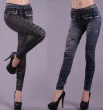 Fashion Women′s Stretchy Ripped Print Jeans Leggings (89716)
