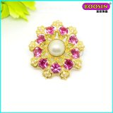 China Manufacturer Wholesale Custom Bulk Flower Rhinestone Brooch with Pearl