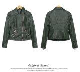 C1217 2015 European Women′s Motorcycle Jacket Oblique Zipper Collar Olive-Green Jacket Slim Short Jacket High-End Wash PU Leather Jacket